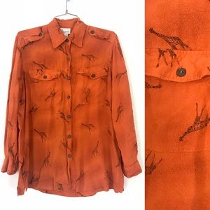 Orange giraffe all over print button down shirt